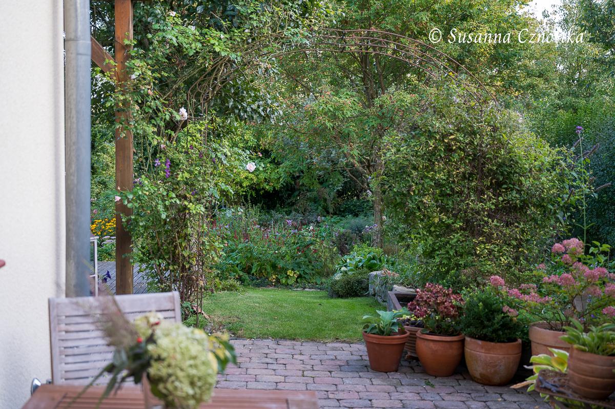 Von der Seitenterrasse aus betritt man den hinteren Garten durch einen Rosenbogen.