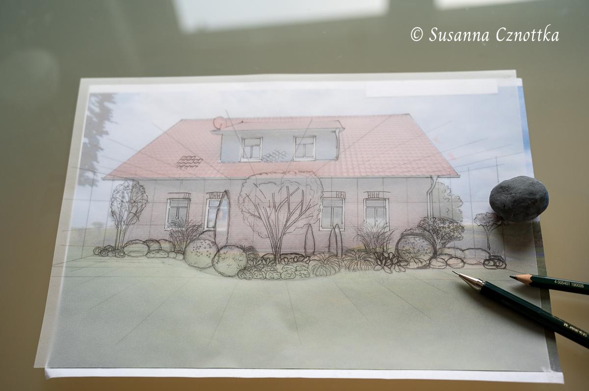 Auf Transparentpapier entwickelt sich der Entwurf.