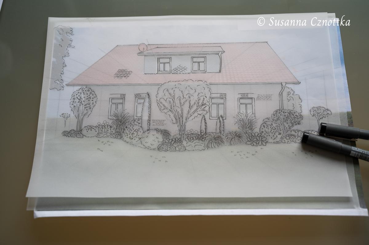 Entwurf für ein sonniges Beet auf Transparentpapier