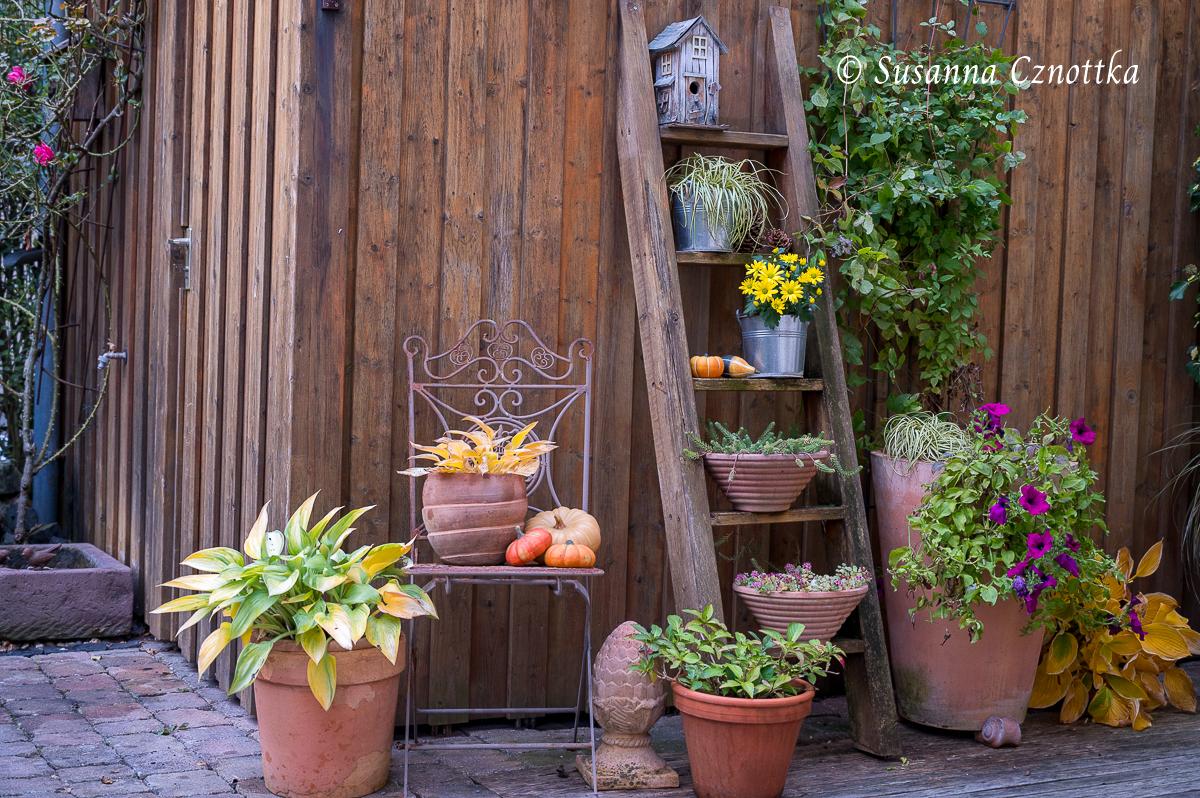 Blumenleiter mit herbstlicher Dekoration
