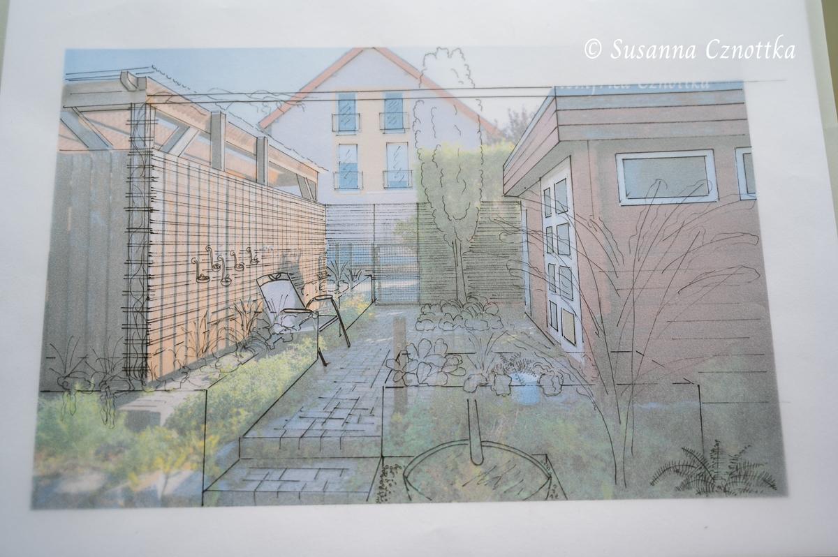 Overlay-Zeichnung für einen kleinen Gartenraum mit Hochbeeten
