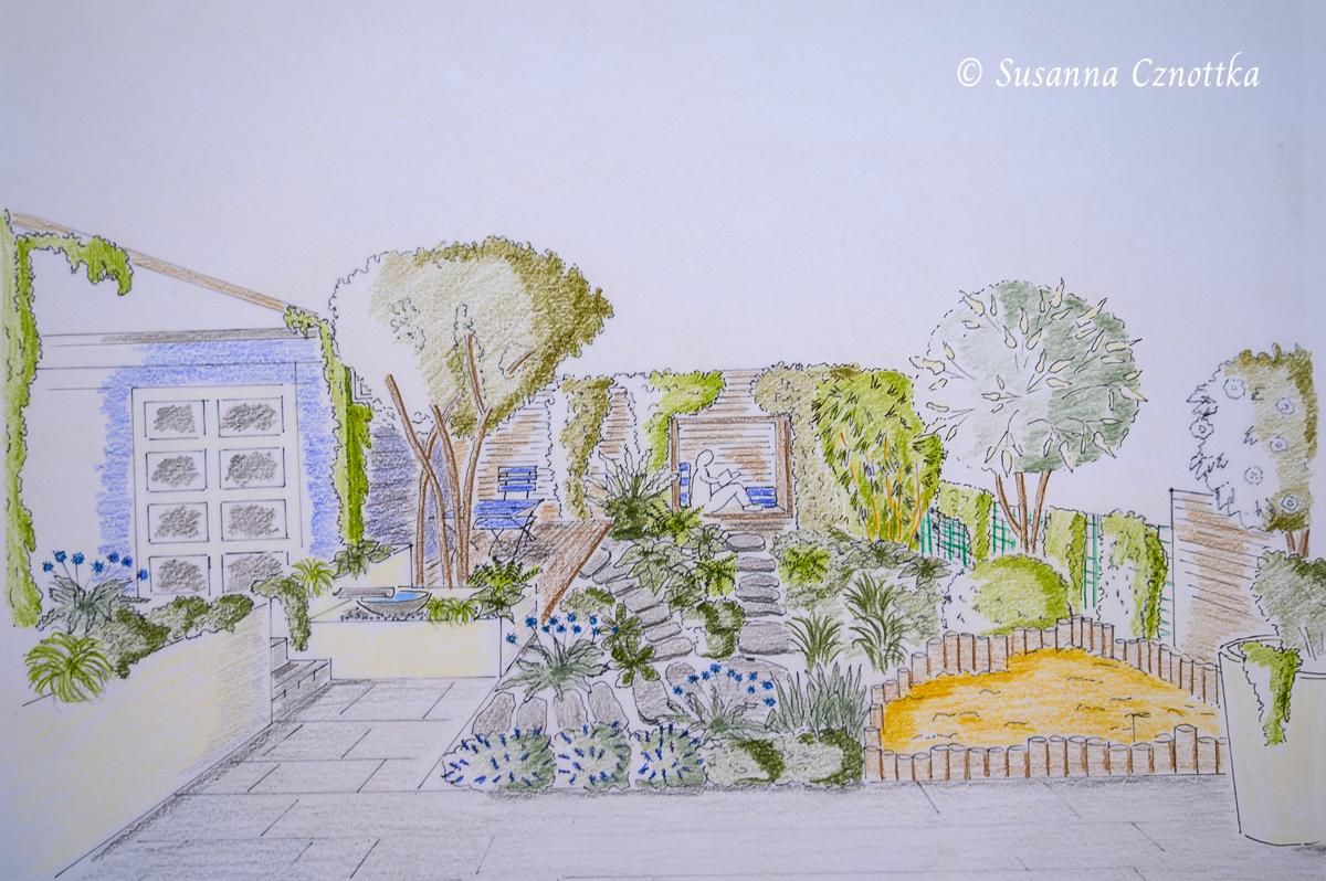 Garten mit Sandkasten, hängender Bank und Holzdeck