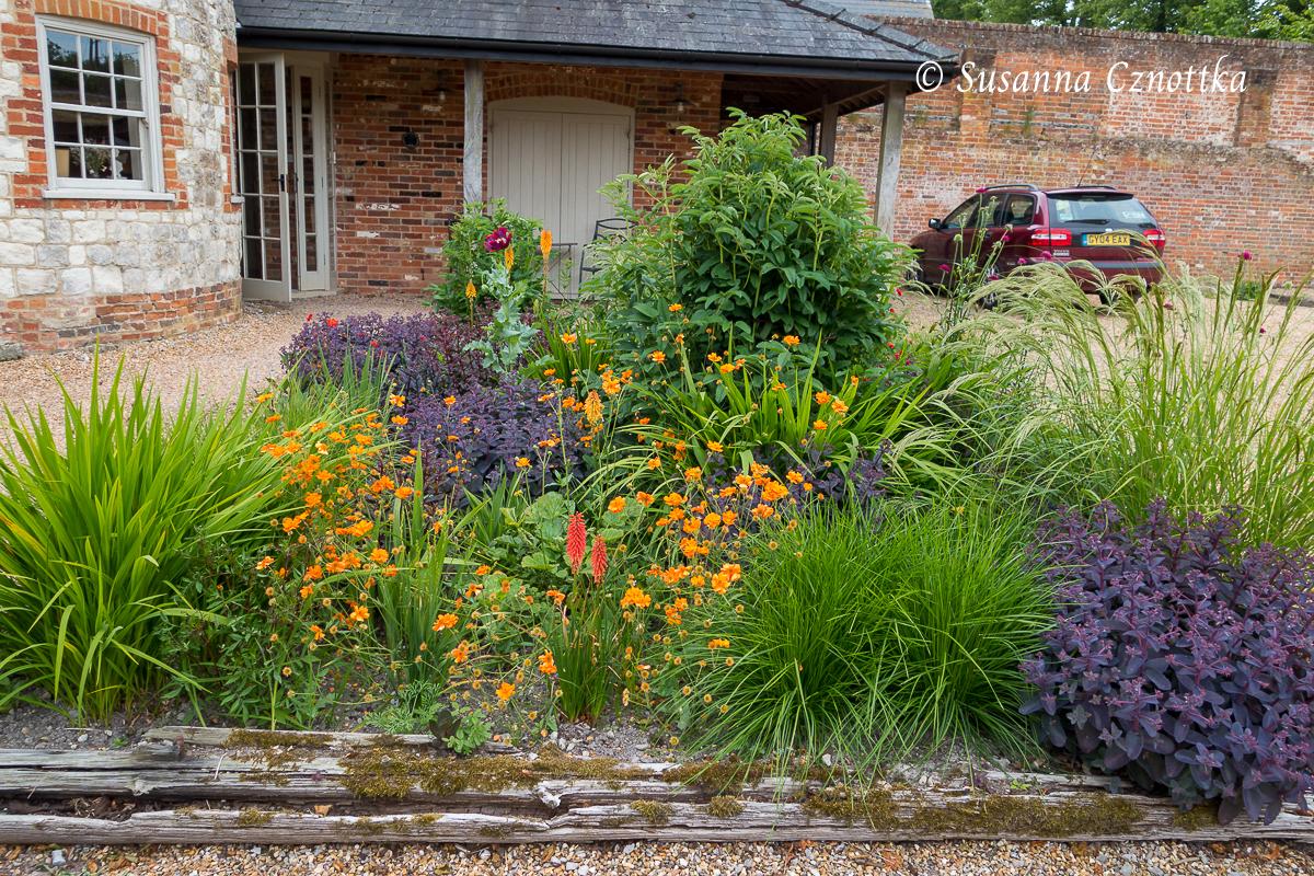 """Ein üppiges Kiesbeet vor der Haustür mit oranger Nelkenwurz (Geum) und Fetthenne """"Karfunkelstein (Hylotelephium """"Karfunkelstein"""")"""