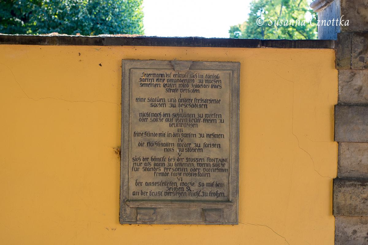 Benimmregeln für den Großen Garten (Herrenhäuser Gärten, Hannover)