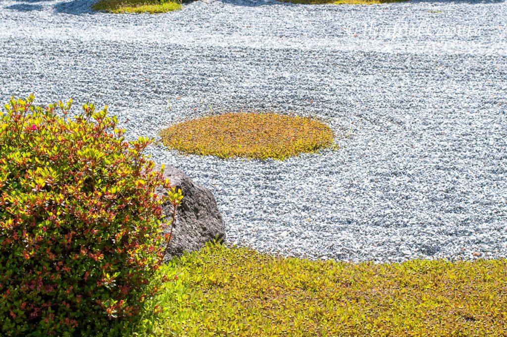 Japanischer Garten Bielefeld, geharkter Kies und Insel