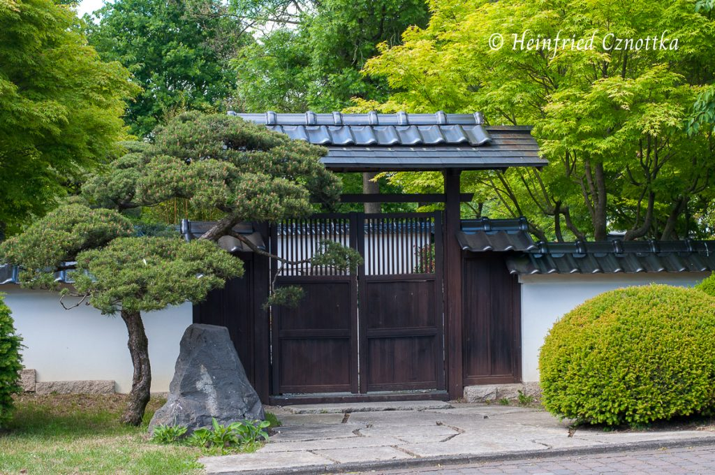 Japanischer Garten Bielefeld. Der Blick durch den Ausschnitt im Tor macht neugierig auf das Dahinterliegende.