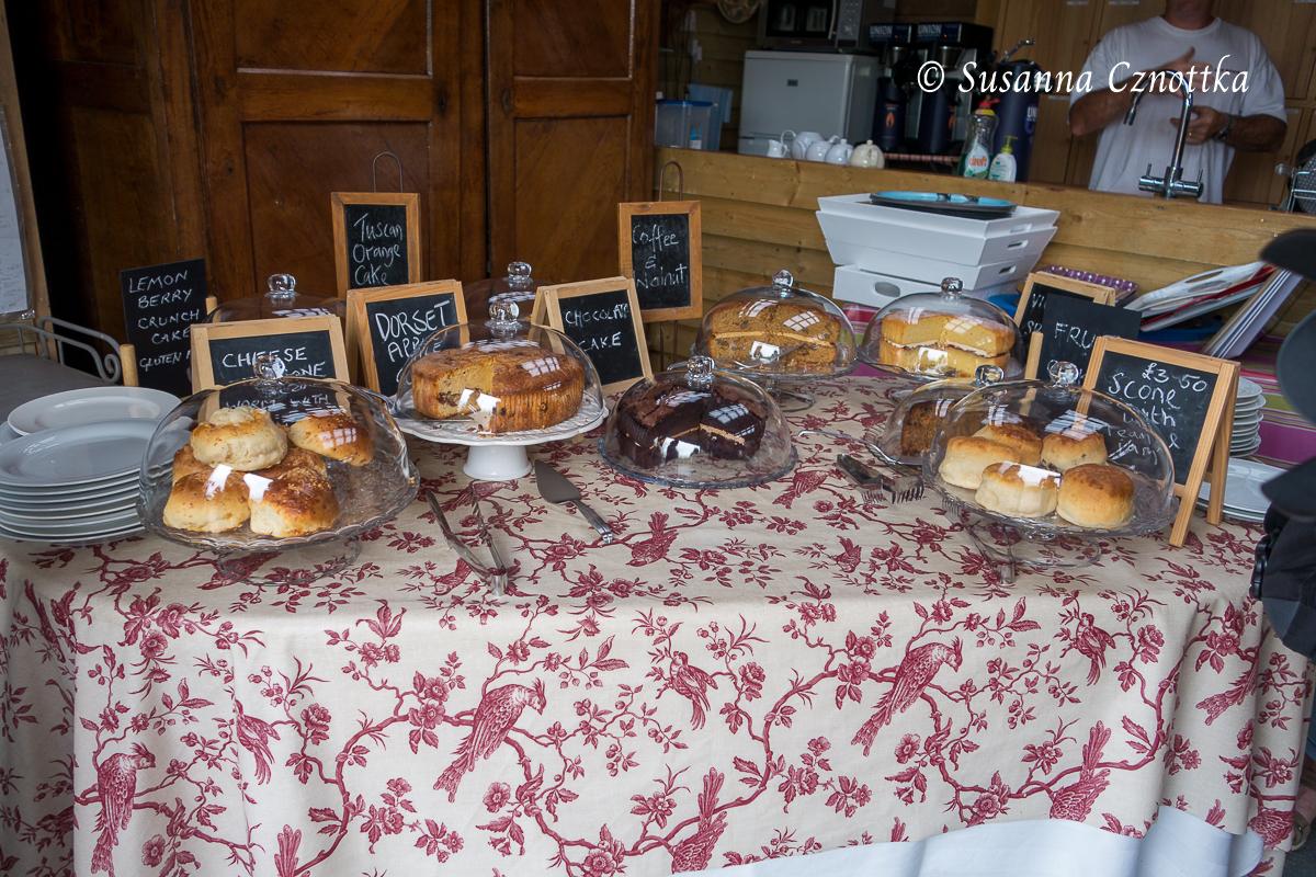 Sussex Prairies Garden, Kuchenbuffett im Cafe