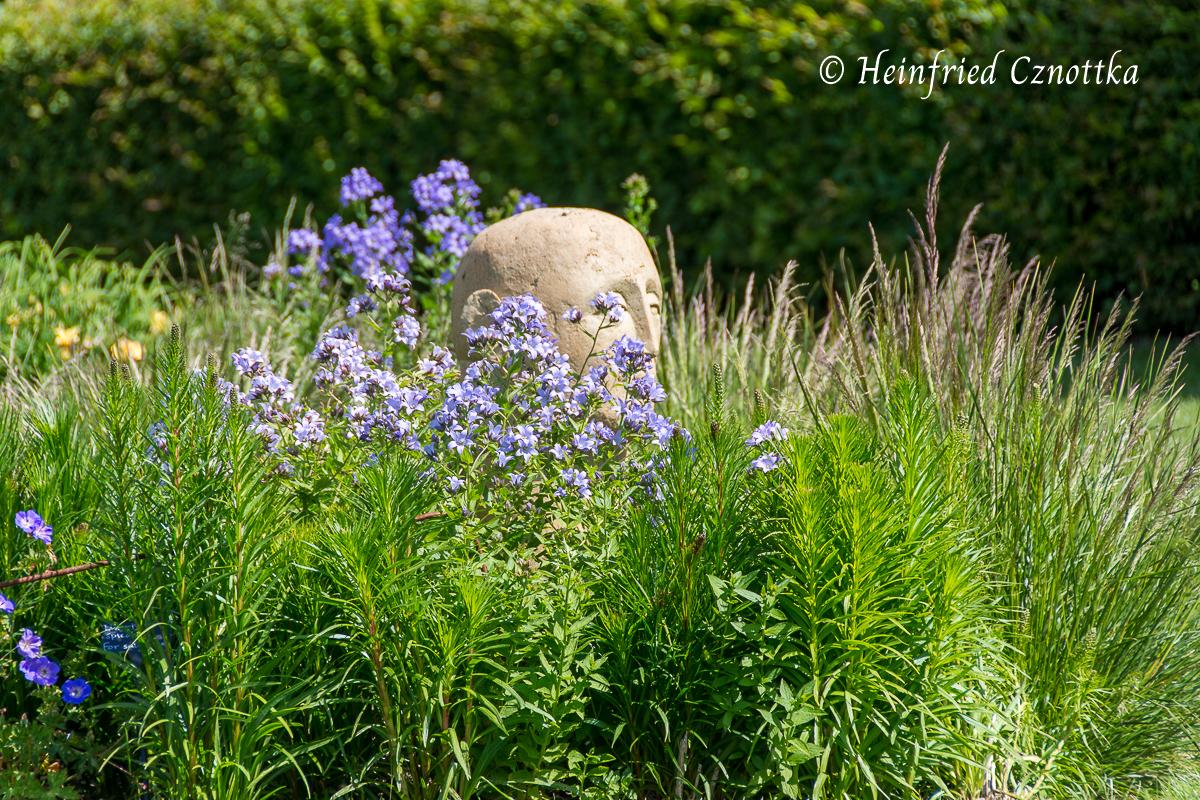Sussex Prairies Garden, Kopfskulptur zwischen Stauden