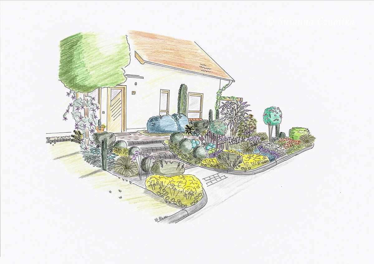 Haus und Vorgarten: Perspektive